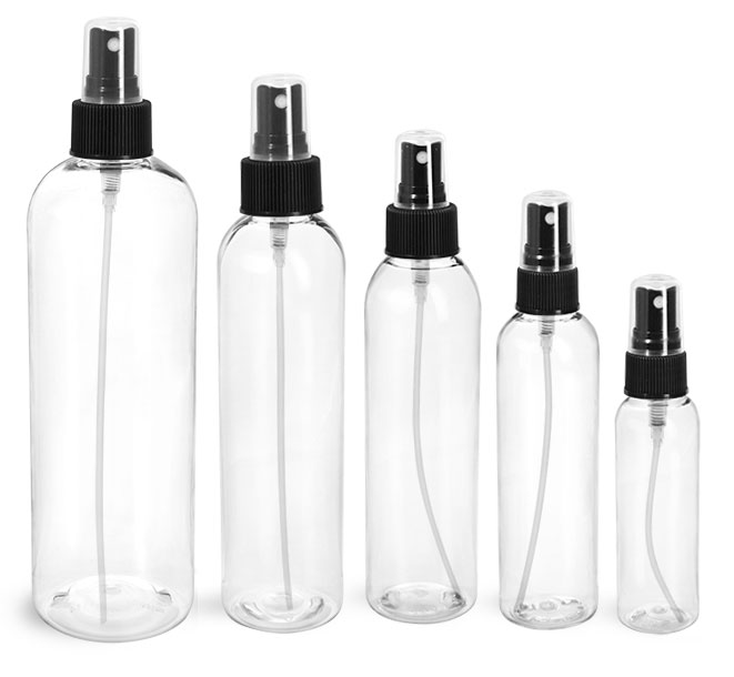 PET Plastic Bottles, Clear Cosmo Round Bottles w/ Black Fine Mist Sprayers