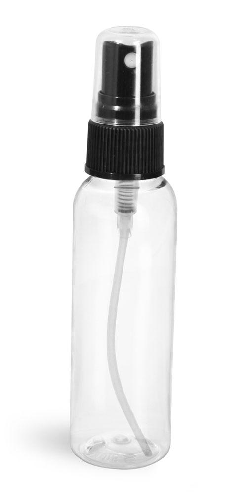 2 oz Clear PET Cosmo Round Bottles w/ Black Fine Mist Sprayers