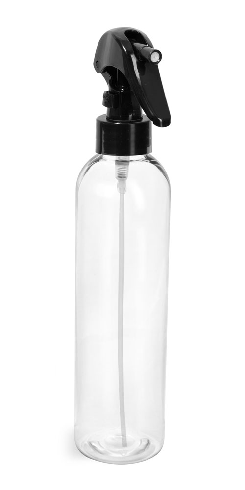 8 oz Clear PET Cosmo Round Bottles  w/ Black Mini Trigger Sprayers