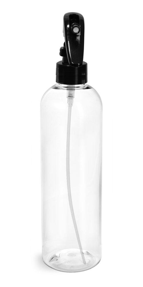 12 oz Clear PET Cosmo Round Bottles  w/ Black Mini Trigger Sprayers