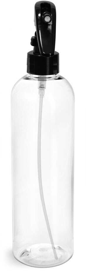 Clear PET Cosmo Round Bottles  w/ Black Mini Trigger Sprayers