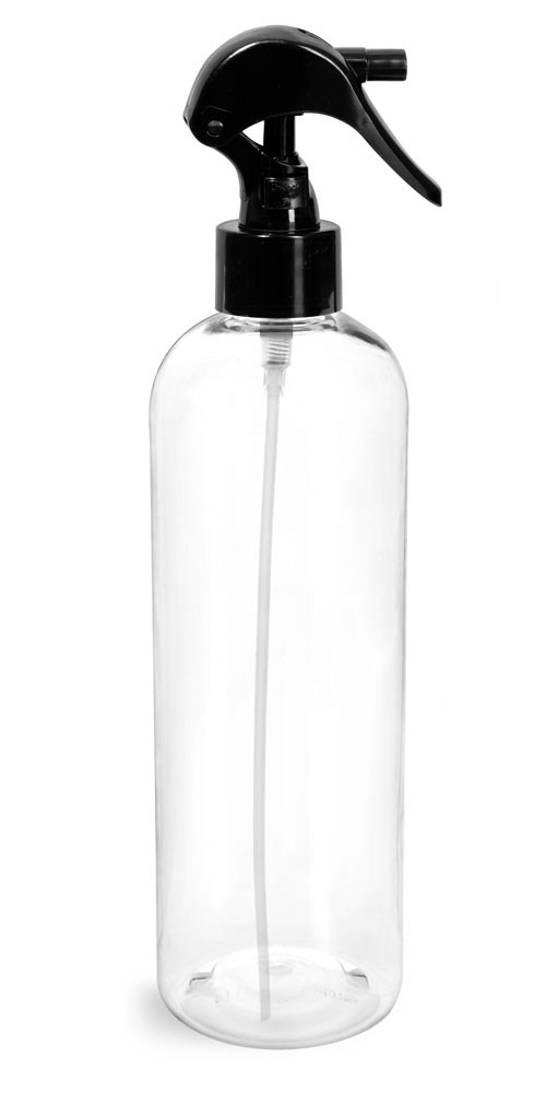 16 oz Clear PET Cosmo Round Bottles  w/ Black Mini Trigger Sprayers