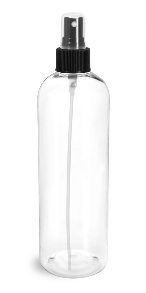Clear PET Cosmo Round Bottles w/ Black Sprayers