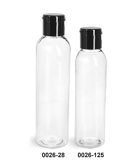 Plastic Bottles, Clear PET Cosmo Round Bottles w/ Black Smooth Snap Top Caps