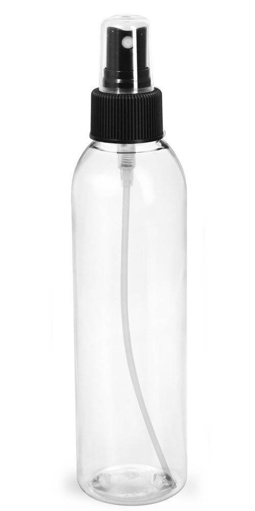 6 oz Clear PET Cosmo Round Bottles w/ Black Sprayers