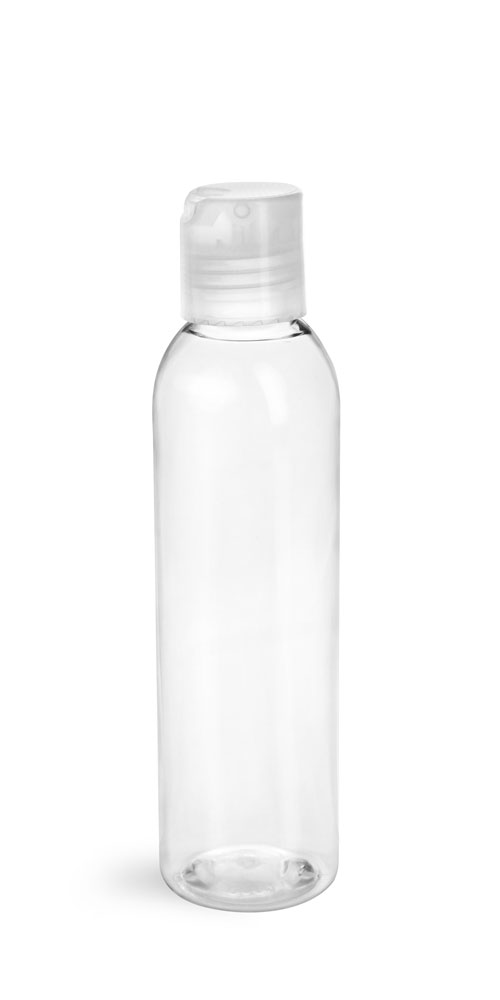 6 oz Clear PET Cosmo Round Bottles w/ Natural Disc Top Caps