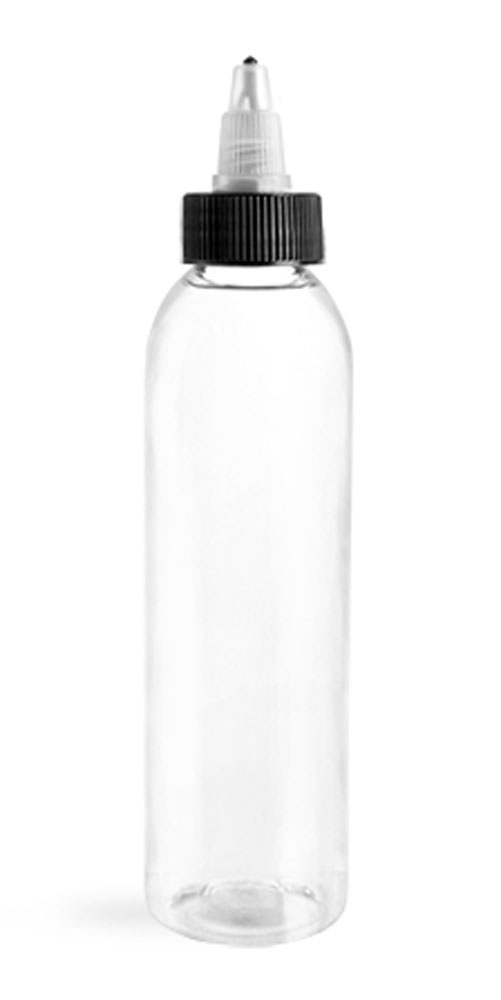 6 oz Clear PET Cosmo Round Bottles w/ Black /Natural Twist Top Caps