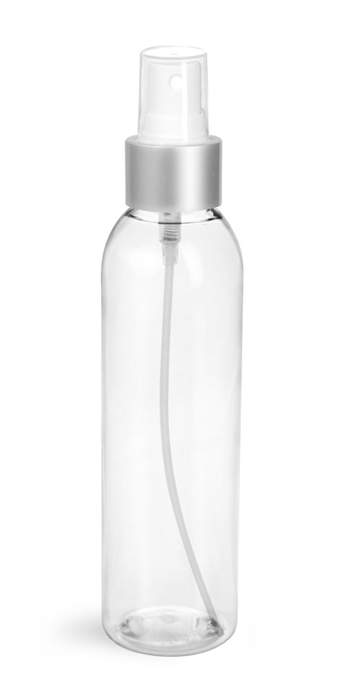 6 oz Clear PET Cosmo Round Bottles w/ White Sprayers w/ Brushed Aluminum Collars