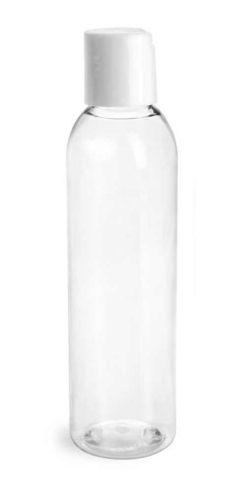6 oz Clear PET Round Bottles w/ with White Disc Top Caps