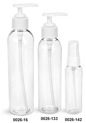 Plastic Bottles, Clear PET Cosmo Round Bottles w/ White Pumps