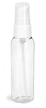 Clear PET Cosmo Round Bottles w/ White Treatment Pumps
