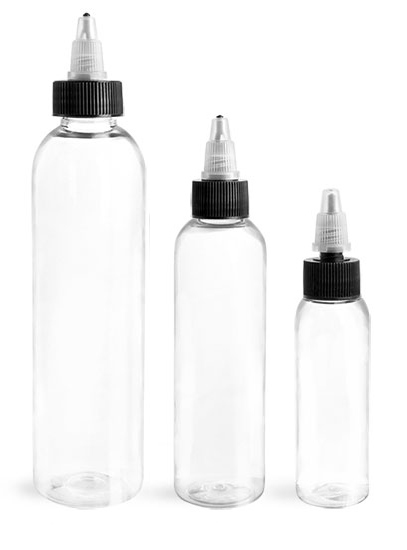 PET Plastic Bottles, Clear Cosmo Round Bottles w/ Black/Natural Induction Lined Caps