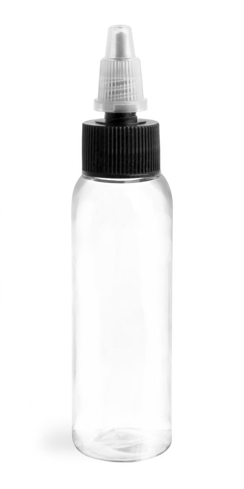 2 oz Plastic Bottles, Clear PET Cosmo Rounds w/ Black/Natural Induction Lined Caps