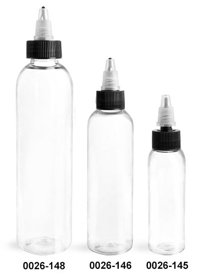 Plastic Bottles, Clear PET Cosmo Round Bottles w/ Black/Natural Induction Lined Caps