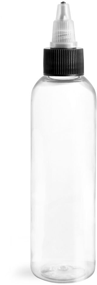 Plastic Bottles, Clear PET Cosmo Rounds w/ Black/Natural Induction Lined Caps