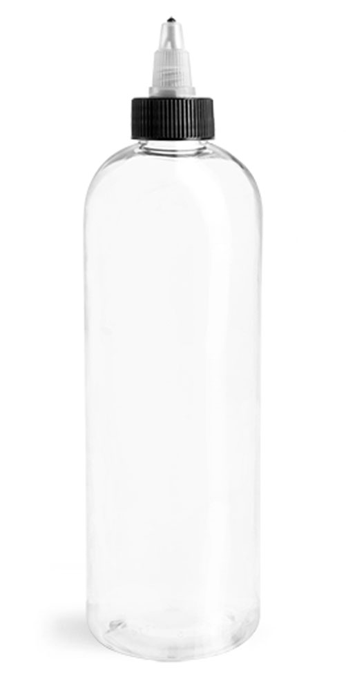 16 oz Clear PET Cosmo Round Bottles w. Black/Natural Twist Top Caps