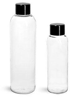 PET Plastic Bottles, Clear Cosmo Round Bottles w/ Black Smooth PS22 Lined Caps