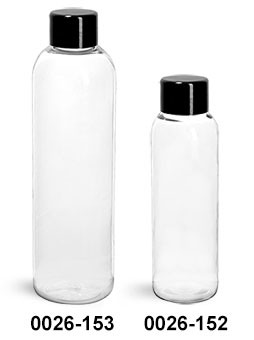 Plastic Bottles, Clear PET Cosmo Round Bottles w/ Black Smooth PS22 Lined Caps