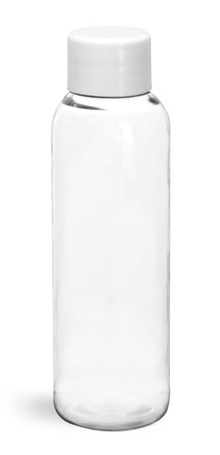 PET Plastic Bottles, Clear Cosmo Round Bottles w/ White Smooth PS22 Lined Caps