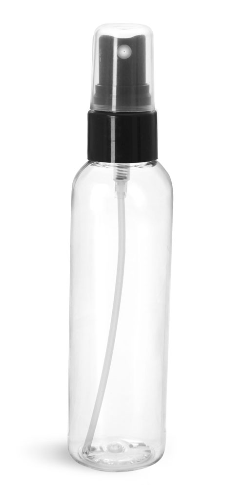 Plastic Bottles, Clear PET Cosmo Rounds w/ Smooth Black Fine Mist Sprayers