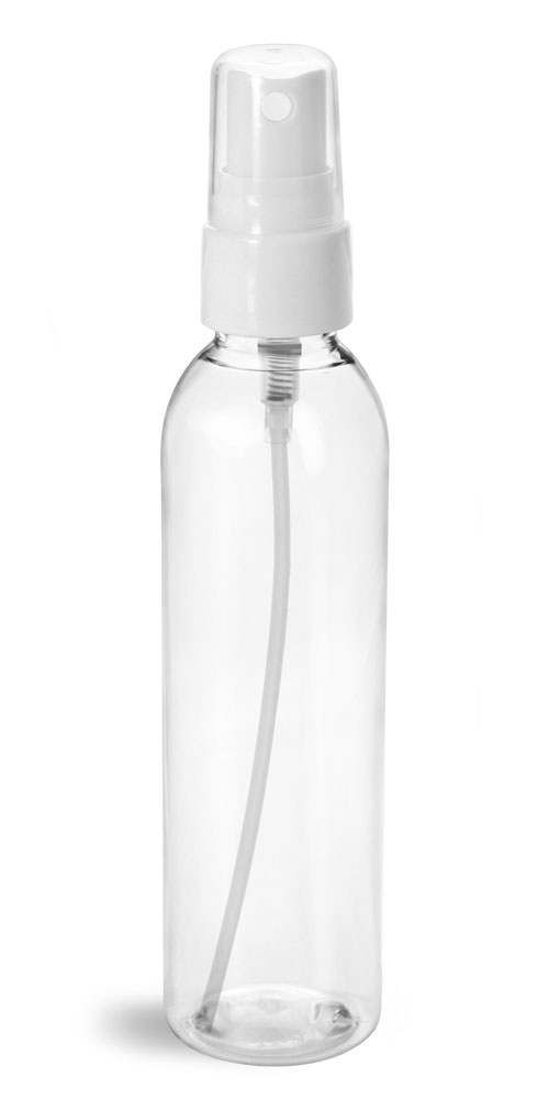 6 oz Plastic Bottles, Clear PET Cosmo Rounds w/ Smooth White Fine Mist Sprayers