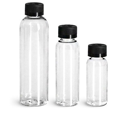 Clear PET Cosmo Round Bottles w/ Black Child Resistant Caps