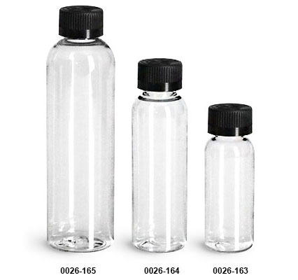 Plastic Bottles, Clear PET Cosmo Round Bottles w/ Black Child Resistant Caps