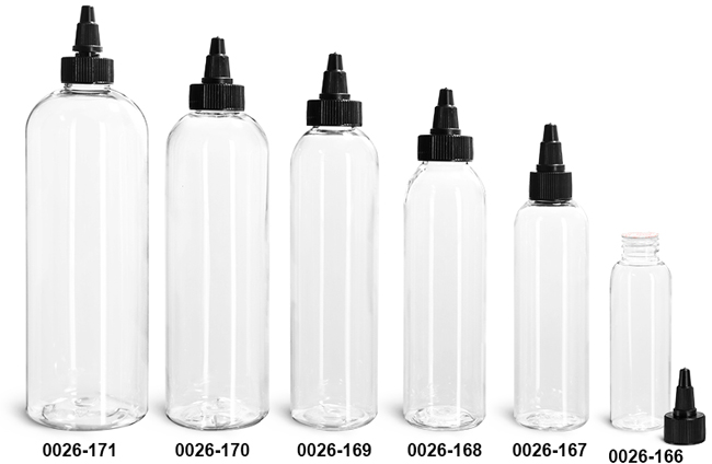 Plastic Bottles, Clear PET Cosmo Round Bottles w/ Black Induction Lined Twist Top Caps