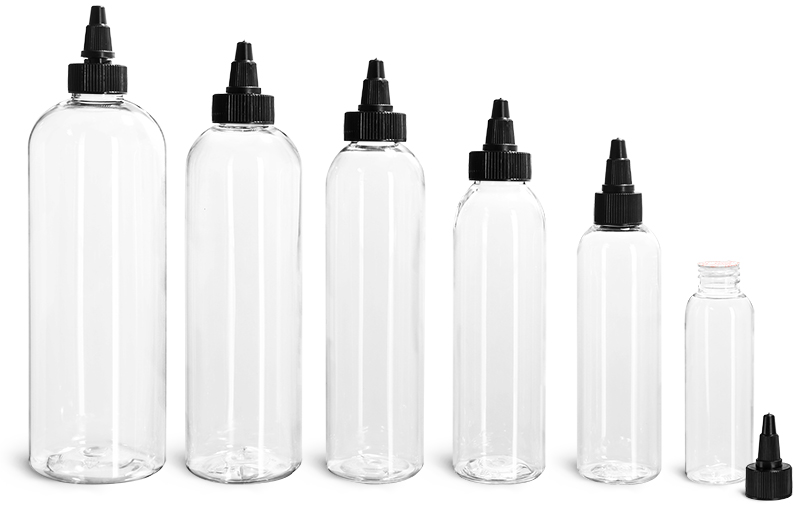 PET Plastic Bottles, Clear Cosmo Round Bottles w/ Black Induction Lined Twist Top Caps