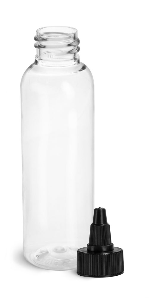 2 oz Plastic Bottles, Clear PET Cosmo Rounds w/ Black Induction Lined Twist Top Caps