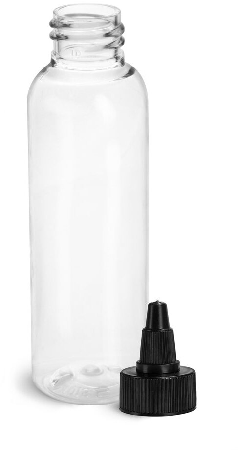 Plastic Bottles, Clear PET Cosmo Rounds w/ Black Induction Lined Twist Top Caps