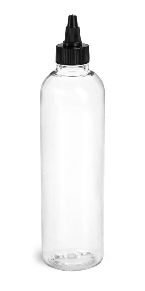 4 oz Plastic Bottles, Clear PET Cosmo Rounds w/ Black Induction Lined Twist Top Caps