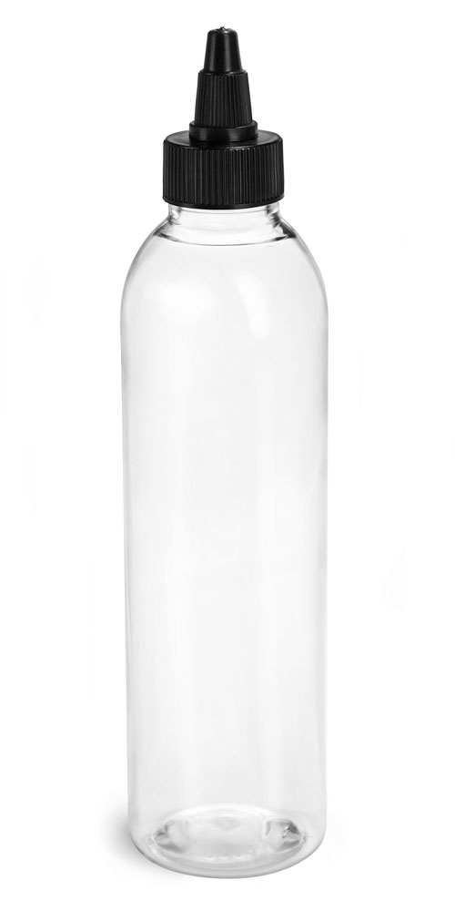 6 oz Plastic Bottles, Clear PET Cosmo Rounds w/ Black Induction Lined Twist Top Caps