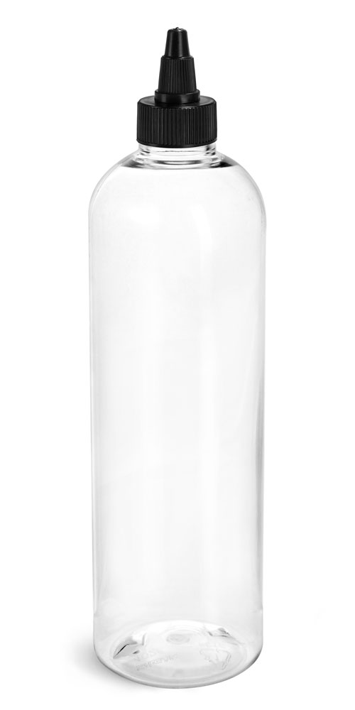 12 oz Plastic Bottles, Clear PET Cosmo Rounds w/ Black Induction Lined Twist Top Caps