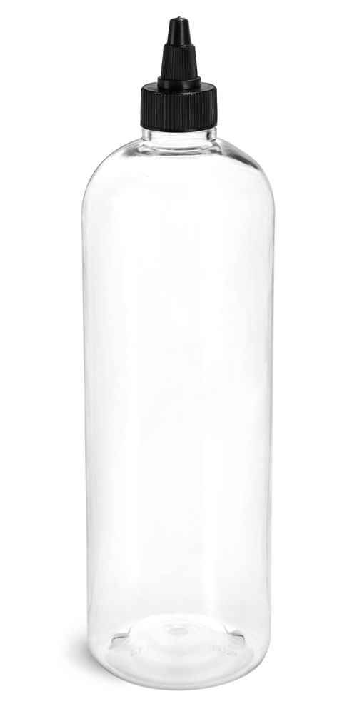 16 oz Plastic Bottles, Clear PET Cosmo Rounds w/ Black Induction Lined Twist Top Caps