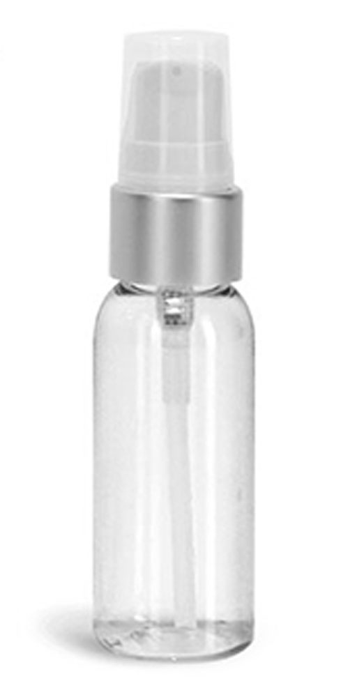 1 oz PET Plastic Bottles, Clear Cosmo Round Bottles w/ White Brushed Aluminum Lotion Pumps