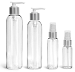 PET Plastic Bottles, Clear Cosmo Round Bottles w/ White Brushed Aluminum Lotion Pumps