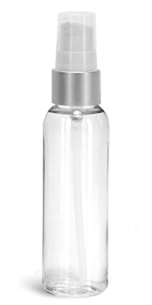 2 oz PET Plastic Bottles, Clear Cosmo Round Bottles w/ White Brushed Aluminum Lotion Pumps