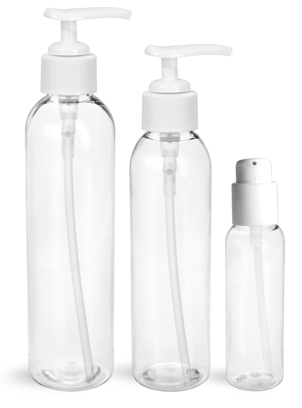 PET Plastic Bottles, Clear Cosmo Round Bottles w/ White Pumps