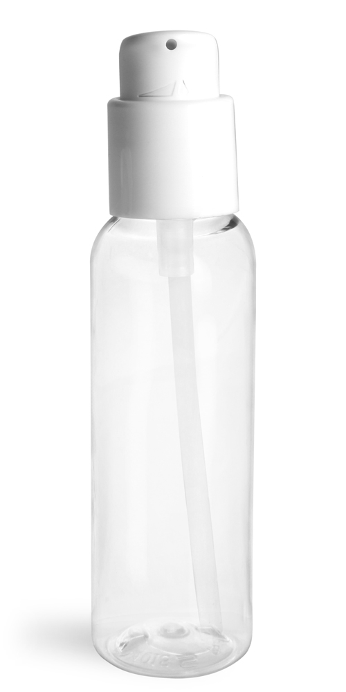 2 oz  Clear PET Cosmo Round Bottles w/ White Treatment Pumps