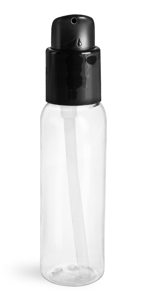 2 oz Clear PET Cosmo Round Bottles w/ Black Treatment Pumps