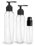 PET Plastic Bottles, Clear Cosmo Round Bottles w/ Black Lotion Pumps & Treatment Pumps