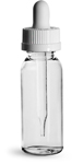 Clear Plastic Bottles, 1 oz PET Cosmo Round Bottles w/ White Child Resistant Droppers