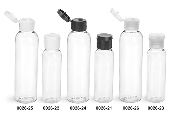 Plastic Bottles, Clear PET Cosmo Round Bottles w/ Black, White Or Natural Ribbed Snap Caps