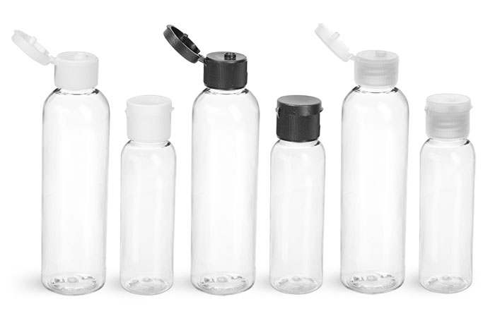 PET Plastic Bottles, Clear Cosmo Round Bottles with Ribbed Caps