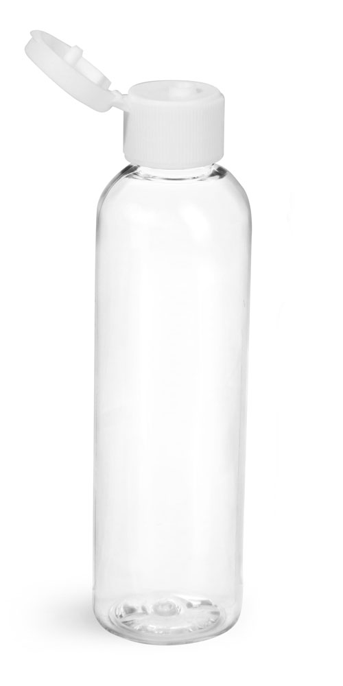 4 oz w/ White Cap Clear PET Cosmo Rounds w/ White Ribbed Snap Caps
