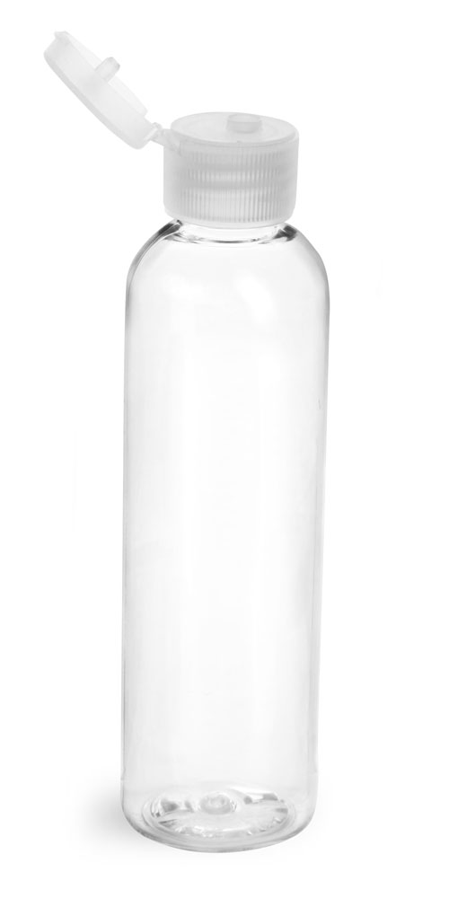 4 oz w/ Natural Cap Clear PET Cosmo Rounds w/ Natural Ribbed Snap Caps