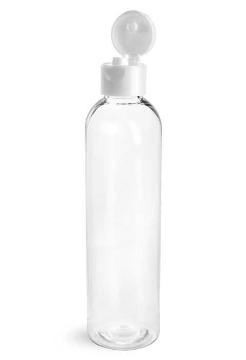 PET Plastic Bottles, Clear Cosmo Round Bottles w/ with White Smooth Snap Top Caps