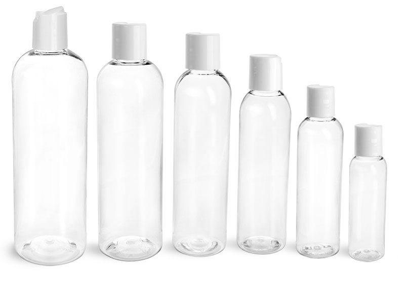 PET Plastic Bottles, Clear Cosmo Round Bottles w/ Smooth White Disc Top Caps