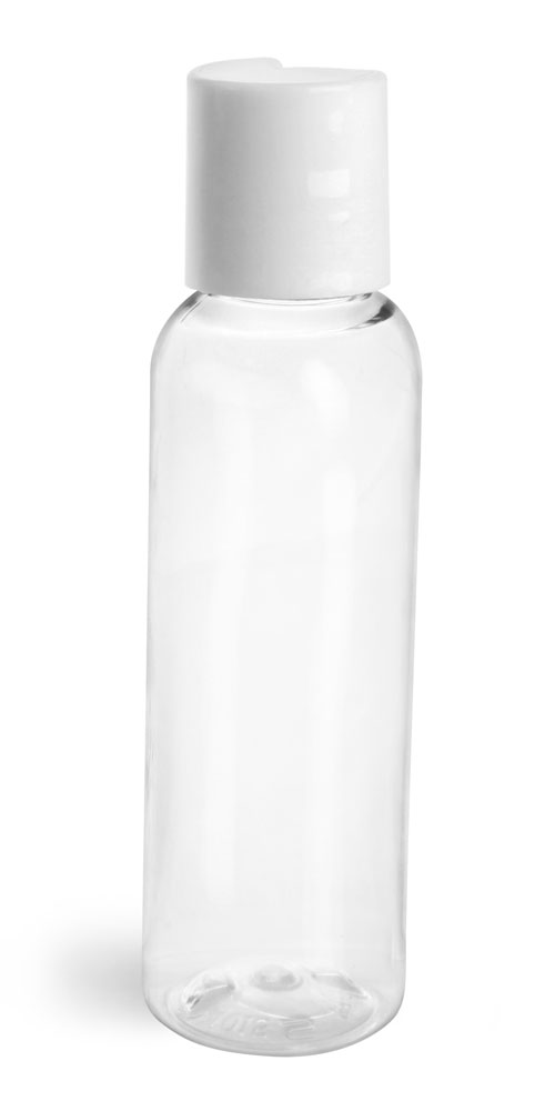 2 oz Clear PET Cosmo Round Bottles w/ Smooth White Disc Top Caps